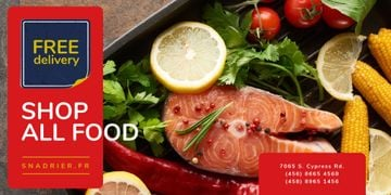 Seafood Offer with Raw Salmon Piece