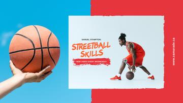 Sport Classes Ad with Basketball Player with Ball