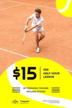 Tennis Club Ad with Player at the Court