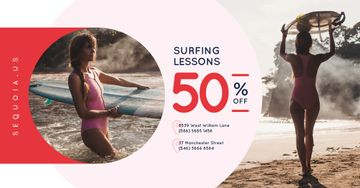 Surfing School Promotion Woman with Board