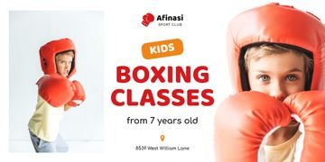 Boxing Classes Ad with Boy in Red Gloves