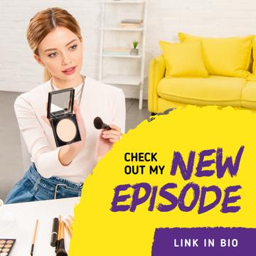Beauty Blog Ad Woman Applying Makeup