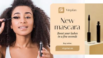 Cosmetics Ad Woman Applying Mascara