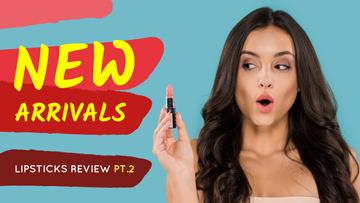 Cosmetics Promotion Woman Holding Lipstick