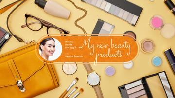 Beauty Blog Ad with Makeup Products on Table