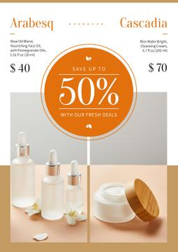 Cosmetics Ad with Skincare Products Bottles