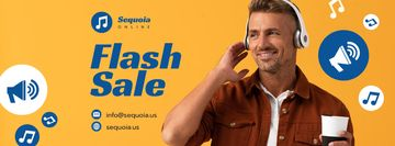 Flash Sale Offer Man in Headphones