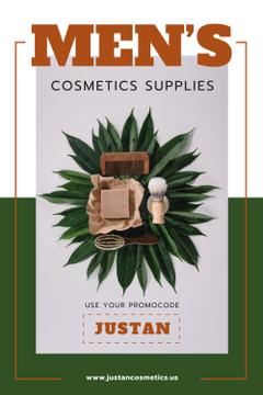 Men's Cosmetics Promotion with Wooden Tools in Green