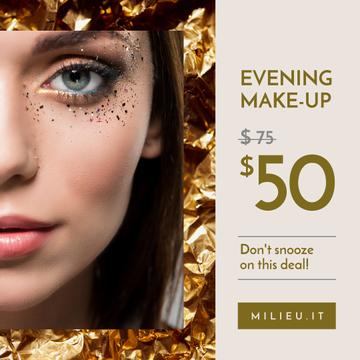 Makeup Courses Ad Woman with Creative Makeup in Golden