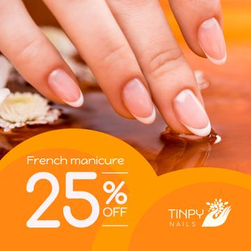 Beauty Salon Ad Manicured Hands in Orange