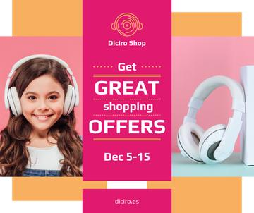 Gadgets Sale Girl in Headphones in Pink