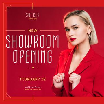 Showroom Opening Announcement Woman in Red Suit
