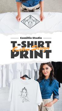 Custom Print Studio Ad Woman Holding T-shirt