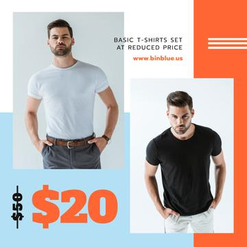 Clothes Sale Man Wearing Basic T-shirt