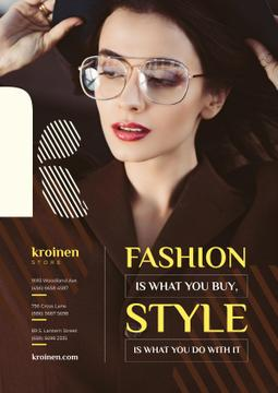 Fashion Store Ad with Woman in Brown Outfit
