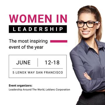 Business Event Announcement Confident Woman in Glasses