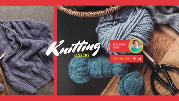 Knitting Lessons with Wool Yarn in Blue