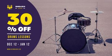 Drums Lessons Ad with Kit on Street