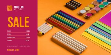 Art Supplies Sale with Colorful Pencils and Paint
