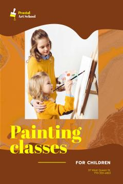 Art Classes Ad with Children Painting by Easel