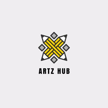 Arts Hub Ad with Crossed Pencils in Yellow
