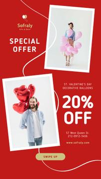 Valentine's Day Balloons Sale in Red