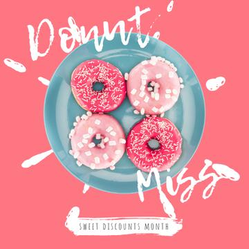 Bakery Offer with Delicious Pink Doughnuts
