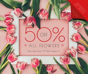 Valentine's Day Tulips Frame in Pink