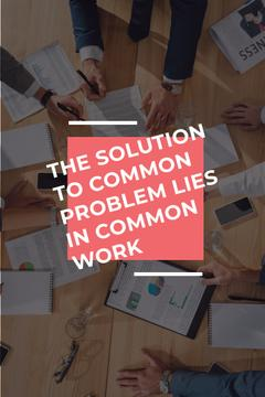 Teamwork Quote with Colleagues Working on Report