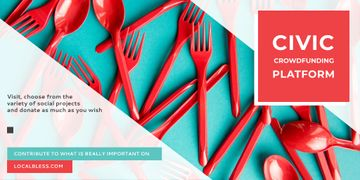 Crowdfunding Platform with Red Plastic Tableware