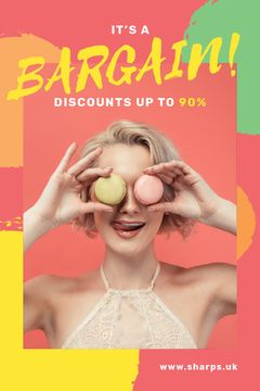 Sale Offer Woman Holding Macarons by Face