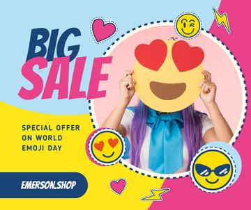 World Emoji Day Offer Girl holding Funny face