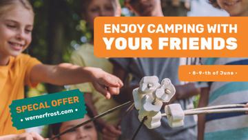 Summer Camp invitation Kids roasting marshmallow