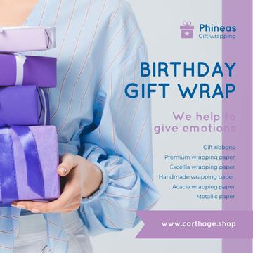Birthday Gift Wrap Offer Woman Holding Presents