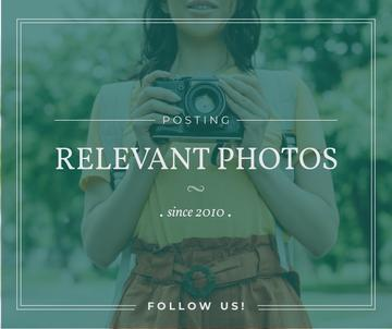 Photo blog ad Woman with Vintage Camera