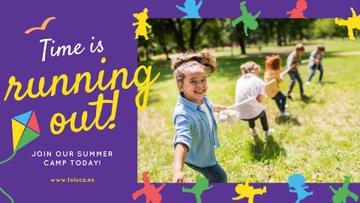 Summer Camp Invitation Kids Playing Outdoors
