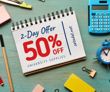 Sale announcement School Stationery on Table