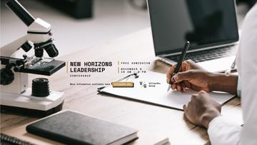 Leadership Conference Ad with Scientist by Working Table