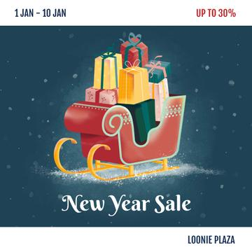 New Year Sale Gifts in Sleigh