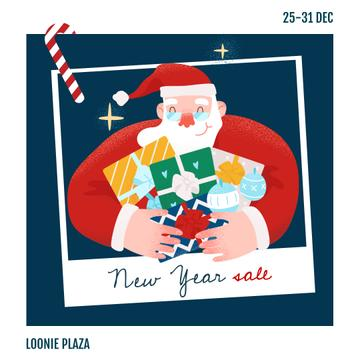 New Year Sale Santa with Gifts