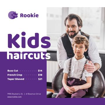 Kids Salon Ad Boy at Haircut
