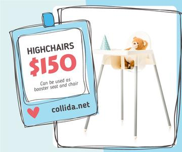 Kids' Highchair with Teddy Bear