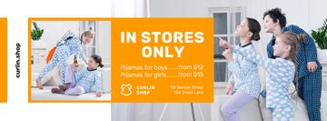Pajama Store Ad with Happy Kids at Home