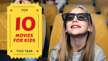 Movies for Kids Girl in Cinema in 3D Glasses