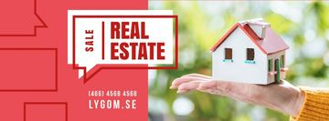 Real Estate Ad with Hand Holding House Model