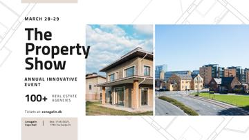 Real Estate Event announcement with Town Buildings