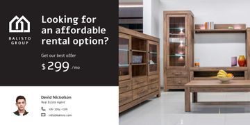 Real Estate Ad with Room Interior with Wooden Furniture