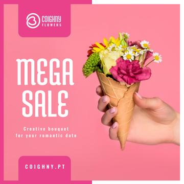 Sale Announcement Hand Holding Waffle with Flowers