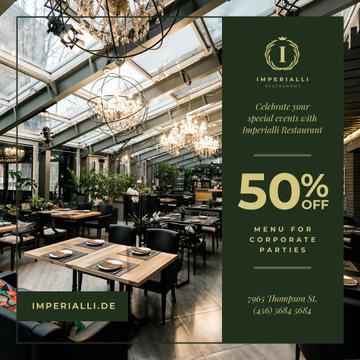 Party Menu Offer Restaurant Interior
