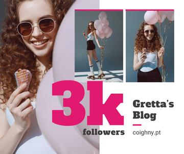 Blog promotion Woman with Ice Cream and Balloons
